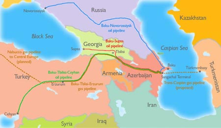 Hydrocarbon pipelines originating at the Caspian Sea
