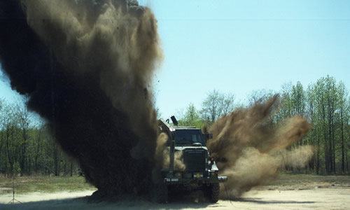MRAP taking blast