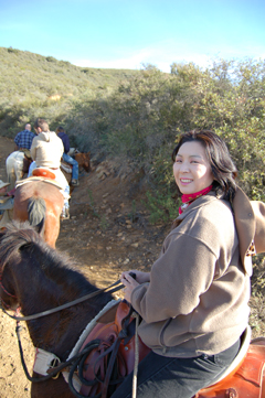 Sachi on horseback