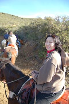 Sachi on horseback